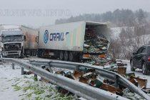 """Три тира във верижна катастрофа на АМ """"Марица"""""""