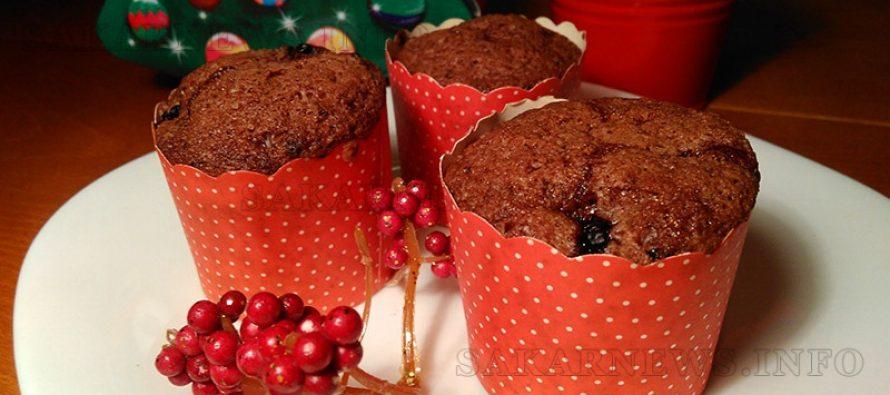 Мъфини с какао и стафиди