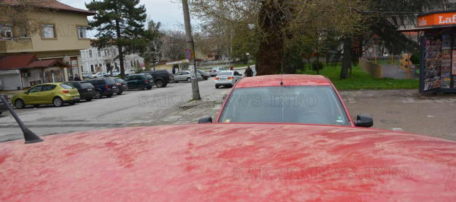 """Пролетният сняг """"боядиса"""" автомобилите в жълто"""