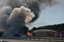 "Тир с химикали изгоря на автомагистрала ""Марица"""
