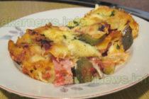 Лазаня с шунка, гъби и кисели краставички