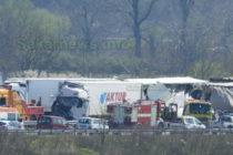 Верижна катастрофа с тирове на магистралата край Харманли