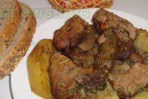 Свинско с картофи и гъби на фурна